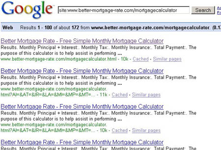 Better-Mortgage-Rate.com calculator serps