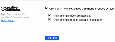 Creative Commons search boxes on Flickr