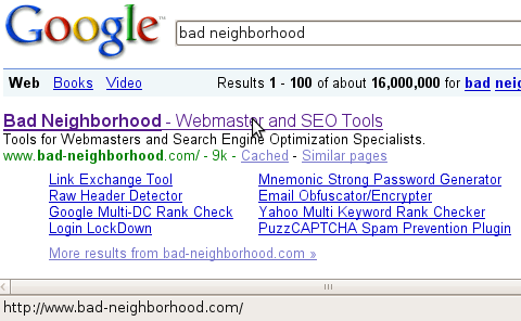 Google cloaked serps url