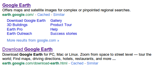 Google Earth in the serps