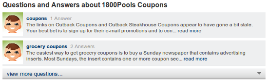 Mahalo 1800pools coupons questions?