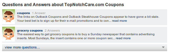 Mahalo TopNotchCare coupons questions?