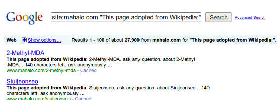 27,900 indexed pages scraped from Wikipedia on Mahalo