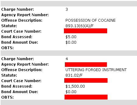 Bad Check: Bond $1,500... Possession Of Cocaine: Bond $5 Bucks