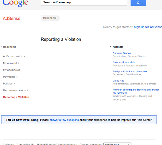 What AdSense violation report?