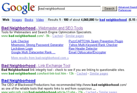 Google AJAX search for [bad neighborhood]