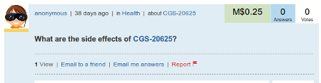 What are the side effects of CGS-20625