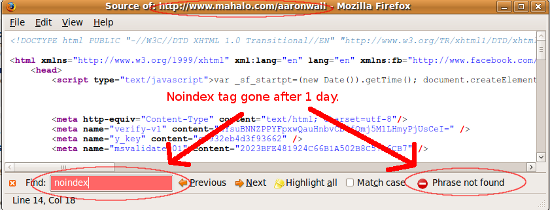Missing noindex tag.