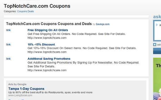 Mahalo TopNotchCare (non)coupons
