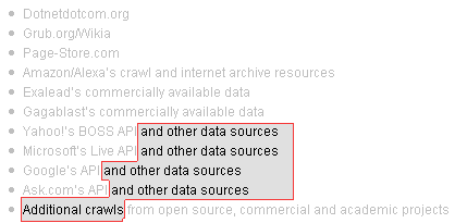 other data sources and additional crawls...?